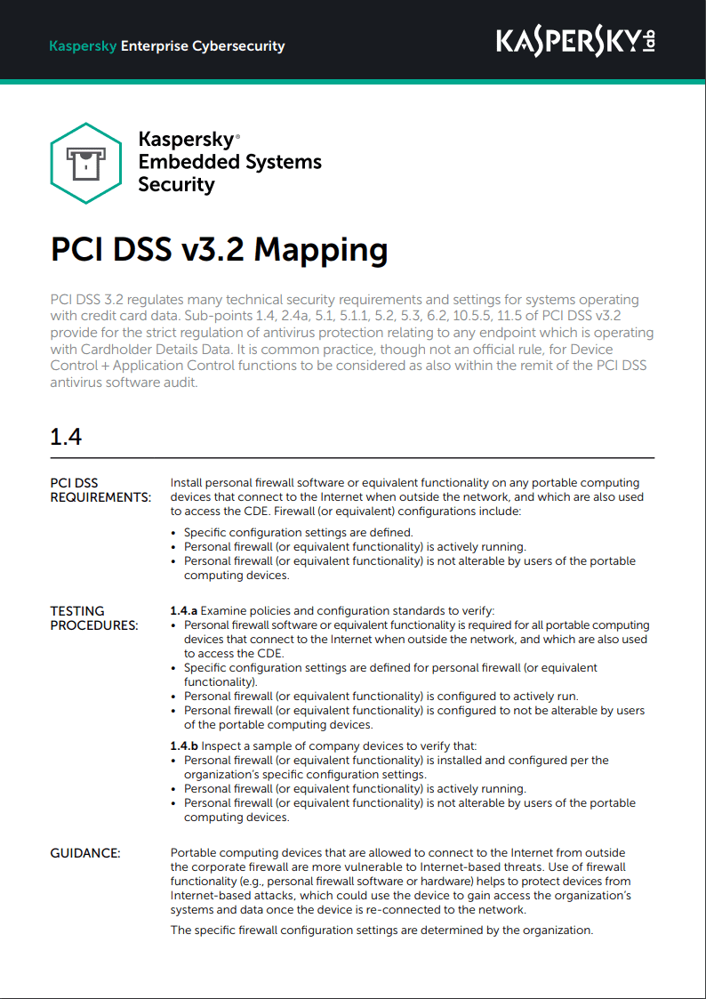 Kaspersky Embedded Systems Security - PCI DSS v3.2-mapping