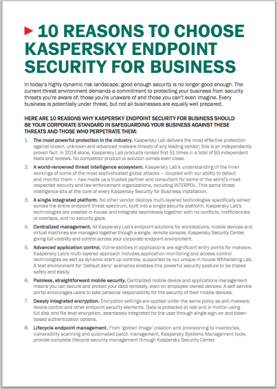 10 redenen om Kaspersky Endpoint Security for Business te kiezen