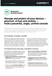 KASPERSKY SECURITY CENTER - DATASHEET