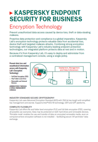 KASPERSKY ENDPOINT SECURITY FOR BUSINESS. ENCRYPTIETECHNOLOGIE - DATASHEET