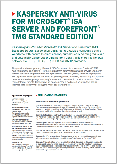 Kaspersky Anti-Virus for Microsoft® ISA Server and Forefront® TMG Standard Edition