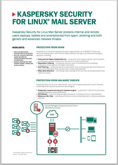 KASPERSKY SECURITY FOR LINUX MAIL SERVER - DATASHEET